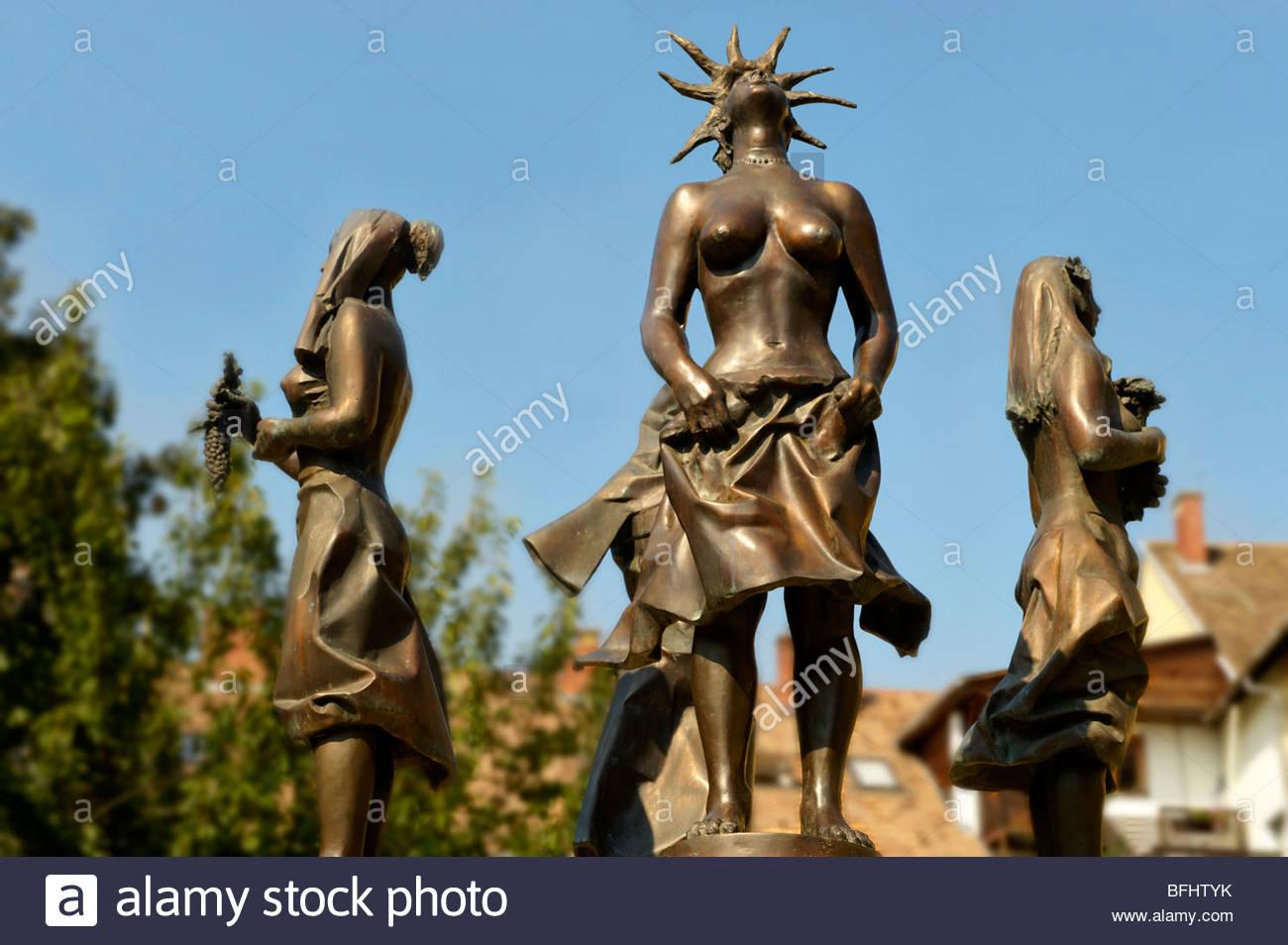Statue of the four seasons - Tapolca, Balaton, Hungary - Stock Image