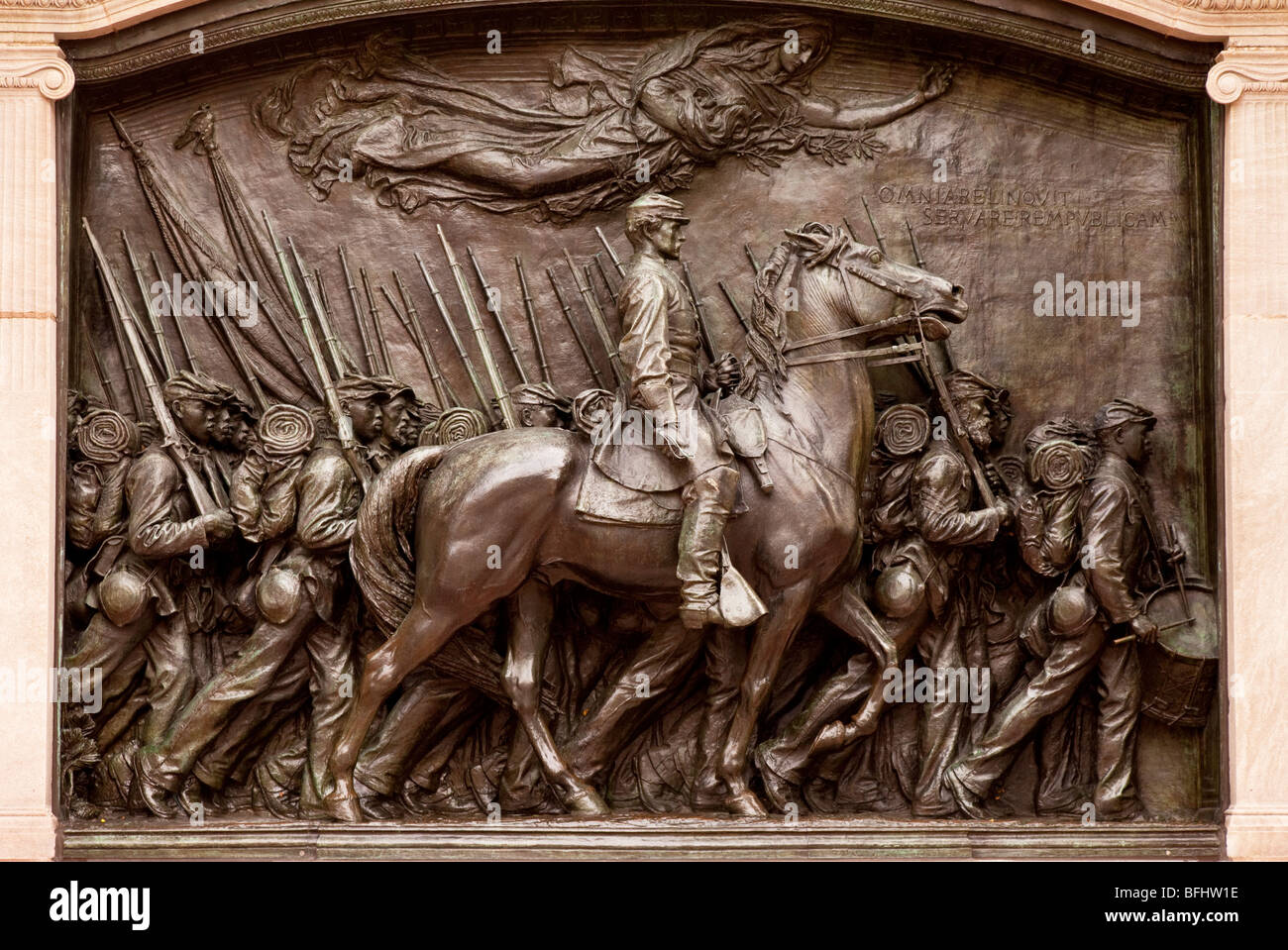 Memorial sculpture honoring the Black Soldiers of the 54th regiment from Massachusetts who fought during the American - Stock Image