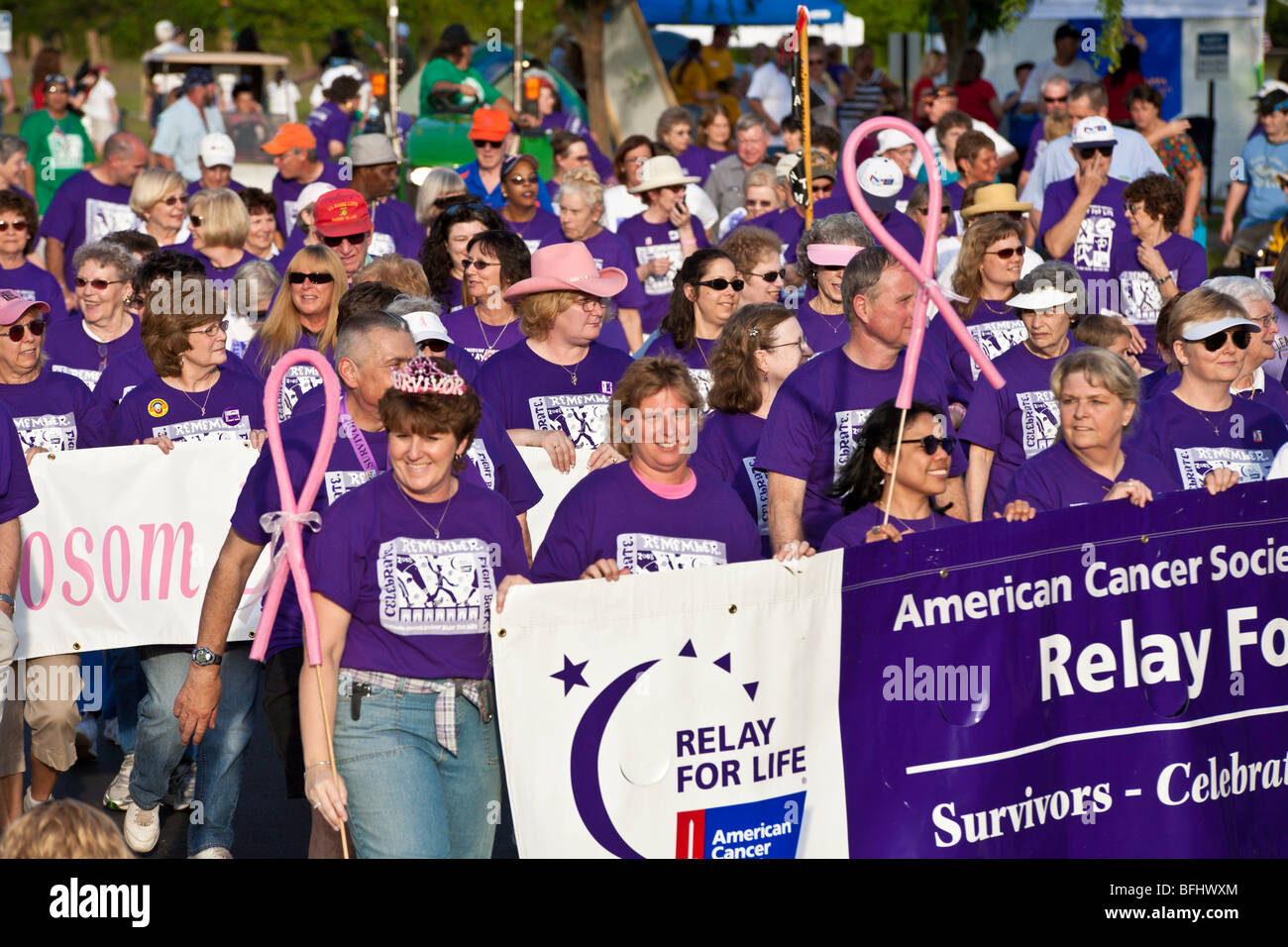 Ocala, FL - Mar 2008 - Cancer survivors carry banner at Relay For Life charity event - Stock Image