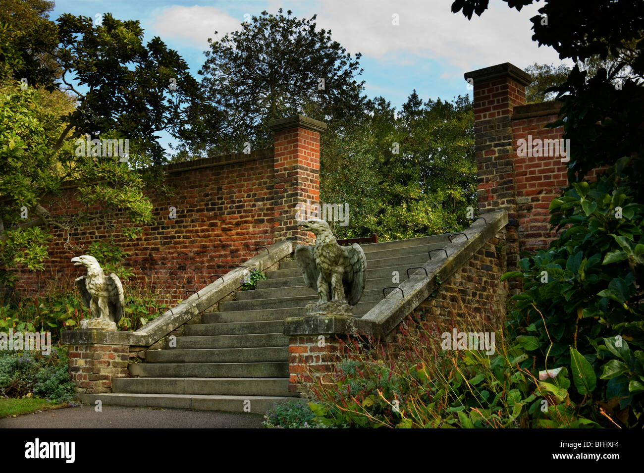 Stone gargoyle seen in Waterlow Park North London - Stock Image