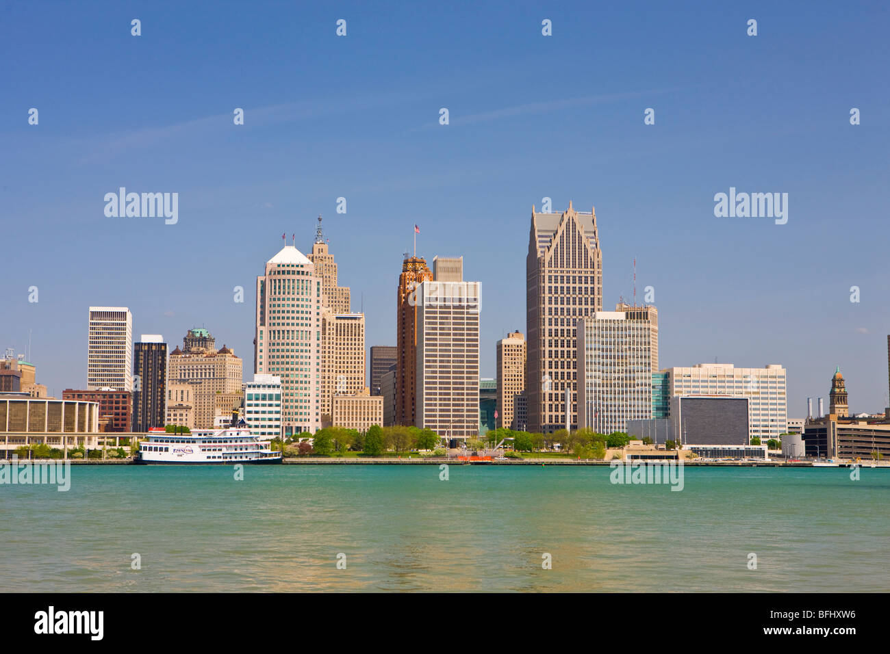 Skyline of the city of Detroit on the Detroit River in Michigan, USA seen from the city of Windsor, Ontario, Canada - Stock Image