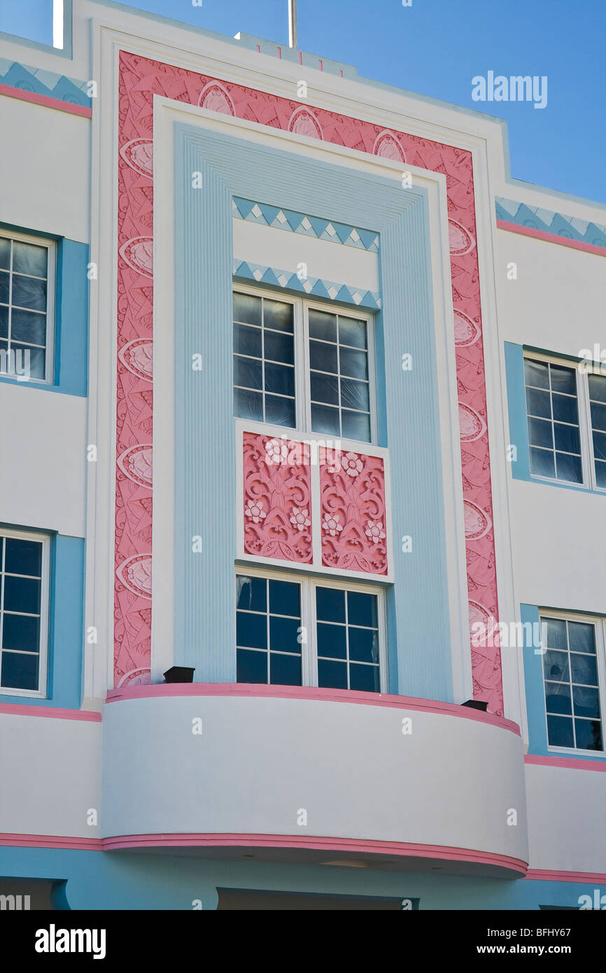 Design on commercial building in the Art Deco District of South Beach, Miami, Florida, U.S.A. - Stock Image
