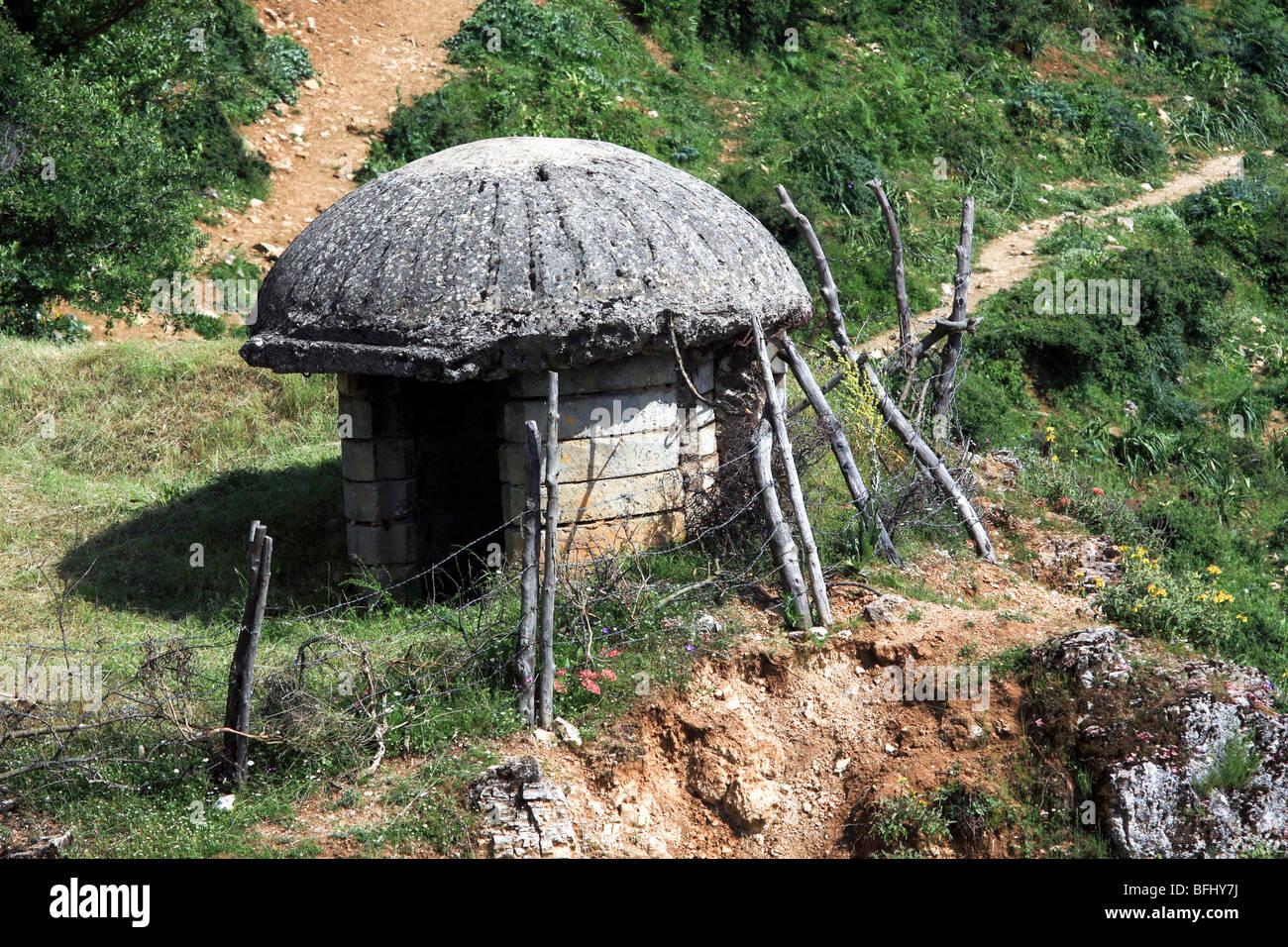 Albania, Antigone, Concrete Bunker, - Stock Image