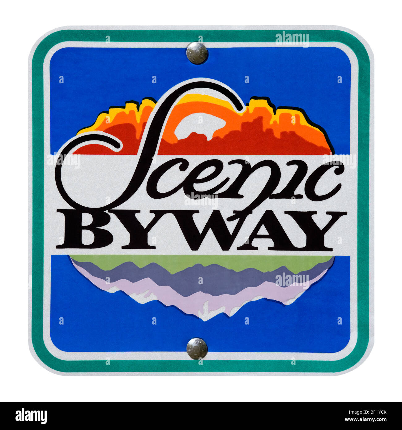 American road sign direction marker Scenic Byway along the Mount Mt Nebo Loop Byway in Utah USA. cutout cut out - Stock Image