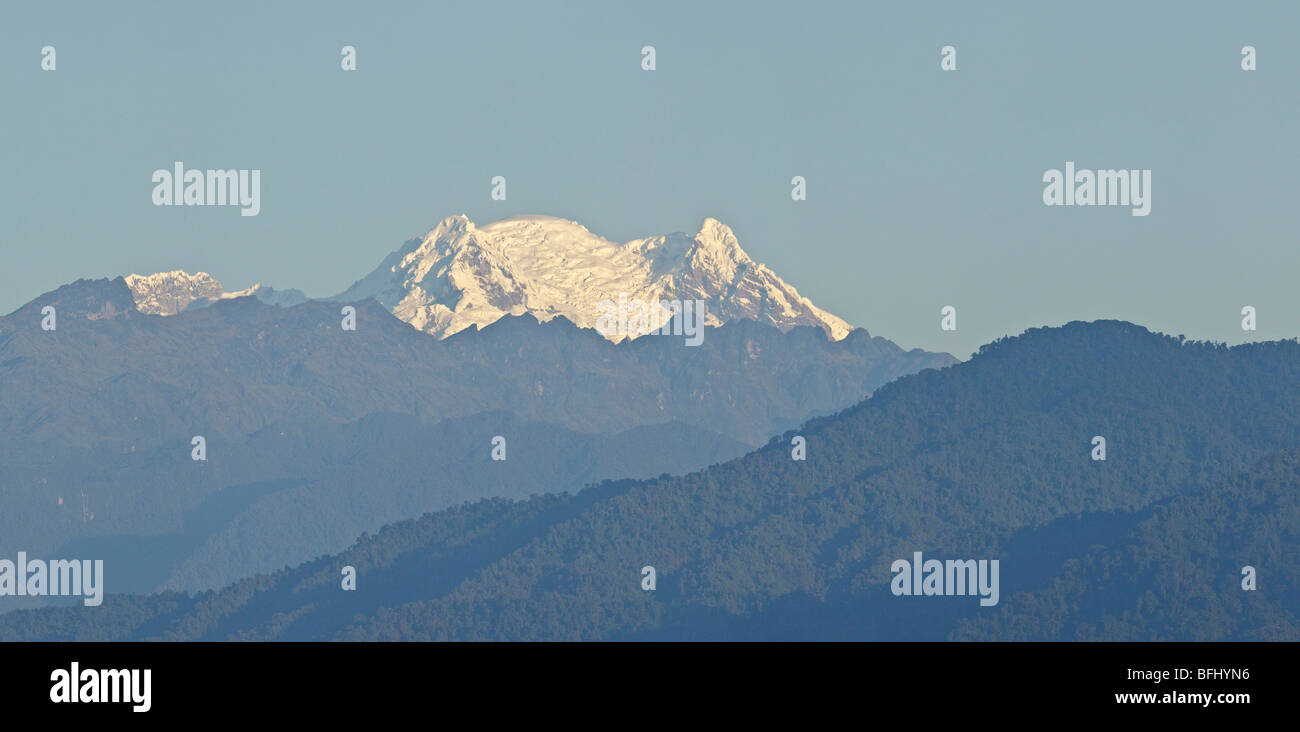 A view of the east slope of the Andes mountains including the Antisana Volcano in Ecuador. - Stock Image