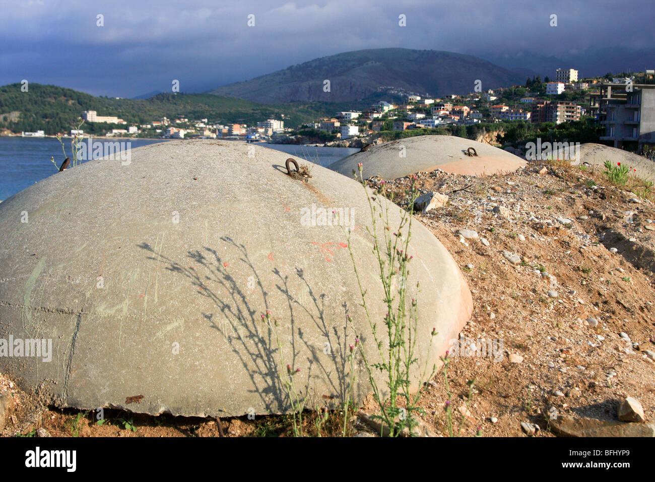 Albania, Himara, concrete bunker protecting against invasions via the sea - Stock Image