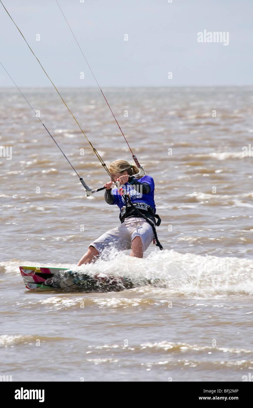 Helen Thompson at the BKSA Kite surfing competition Hunstanton - Stock Image