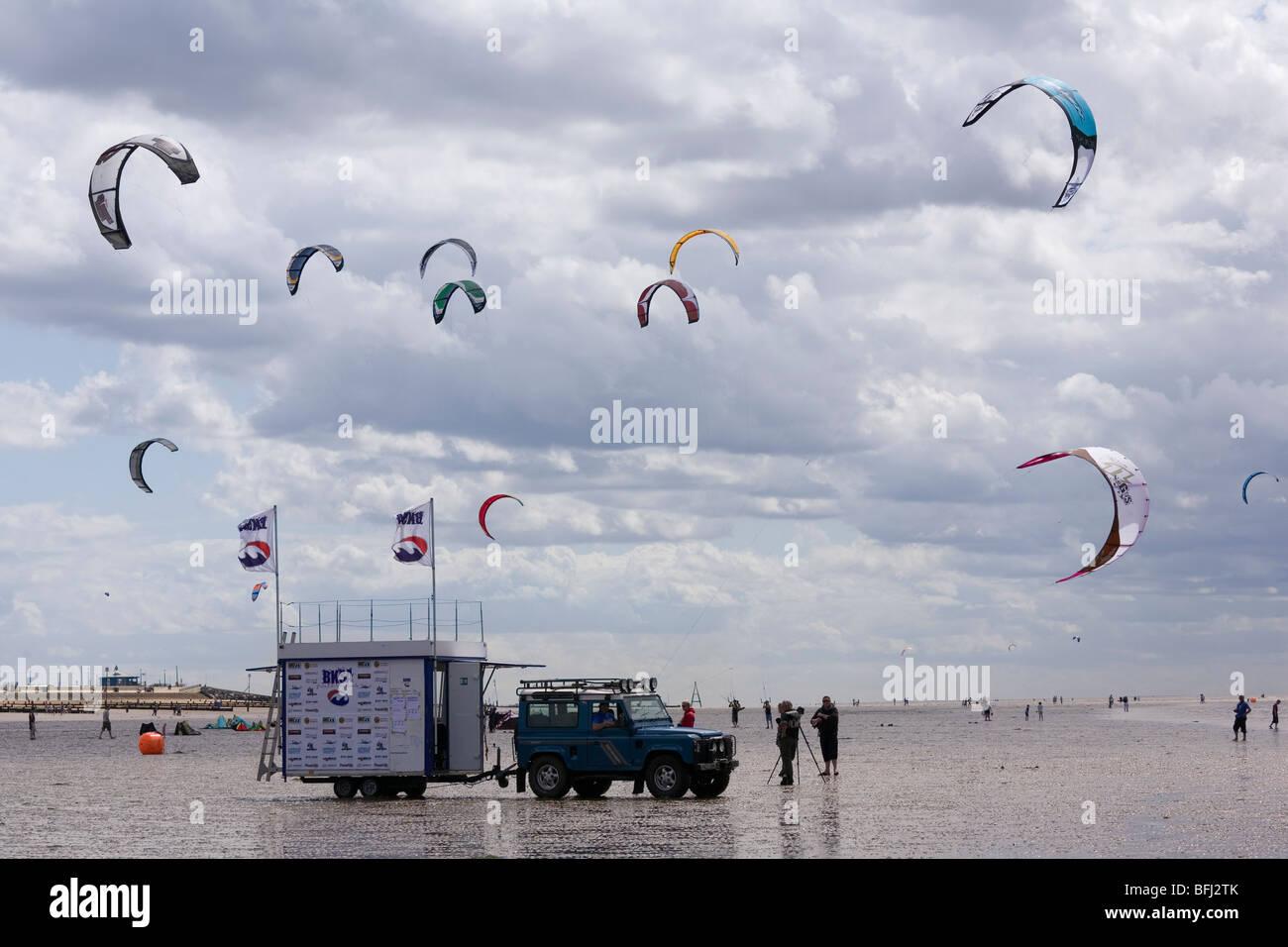 Part of the BKSA Kitesurfing competition at Hunstanton, Norfolk. - Stock Image