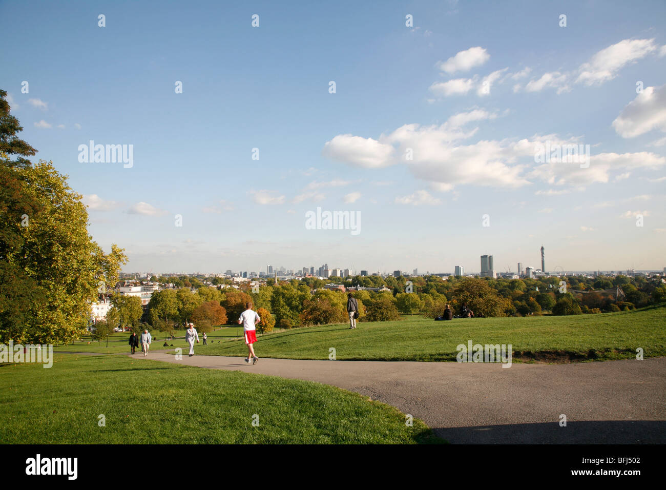 View from the top of Primrose Hill looking towards central London, UK Stock Photo