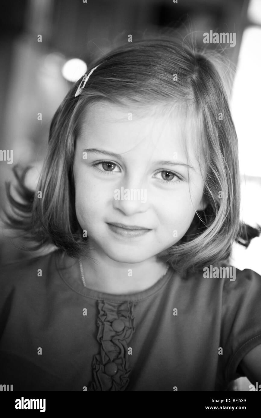 Portrait of a little girl, Sweden. - Stock Image