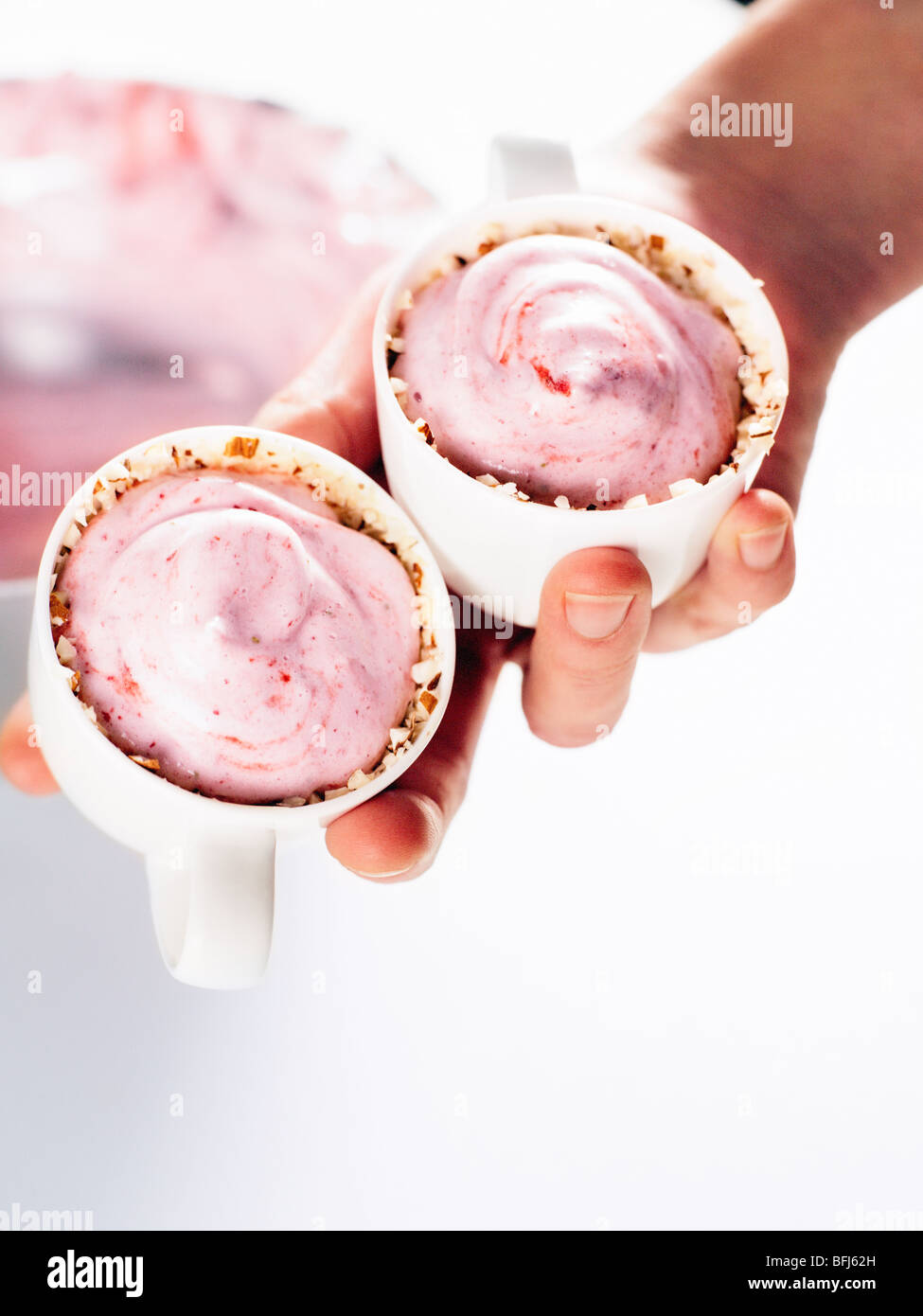 Strawberry mousse, Sweden. - Stock Image