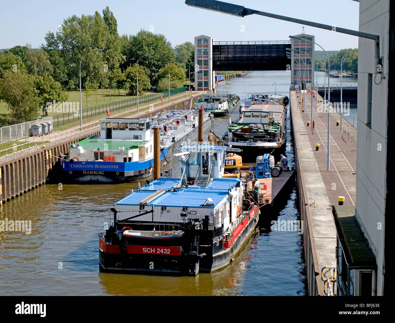 River Barges ready to leave the Elbe-Lock near Geesthacht, Germany. - Stock Image