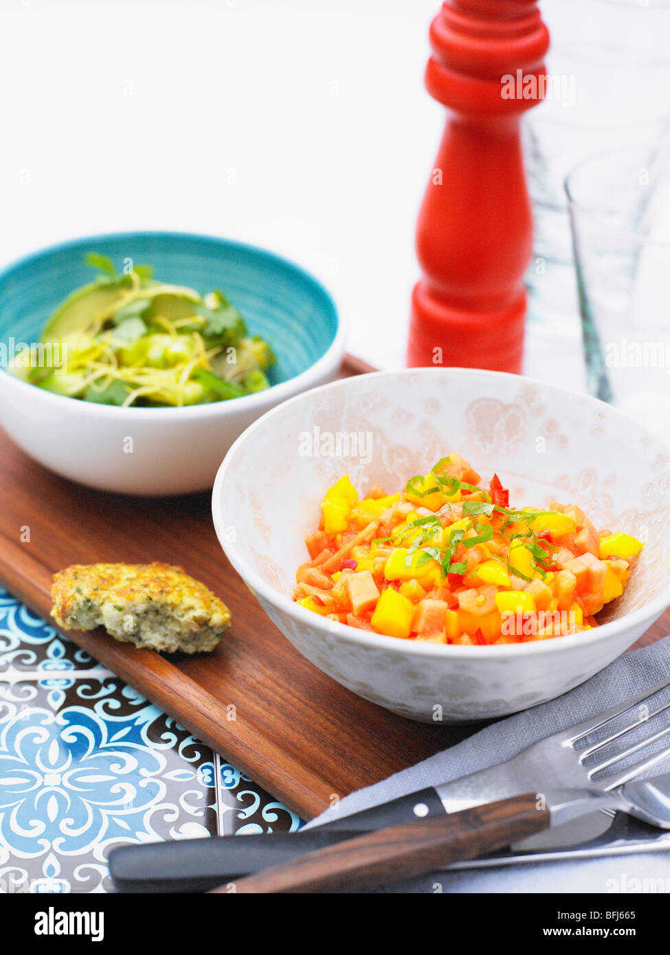 Two different salads, Sweden. - Stock Image