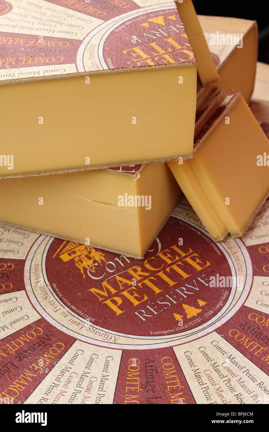 French Cheese produced by Comte Marcel Petite at Fort Saint Antoine in the Jura region at Borough Market Southwark - Stock Image
