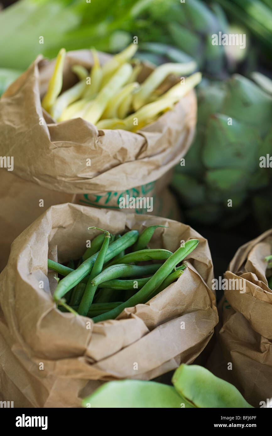 Beans in bags, Sweden. - Stock Image