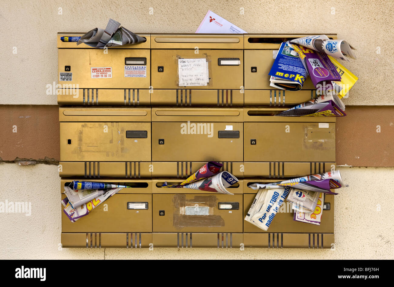 Mailboxes, Spain. - Stock Image