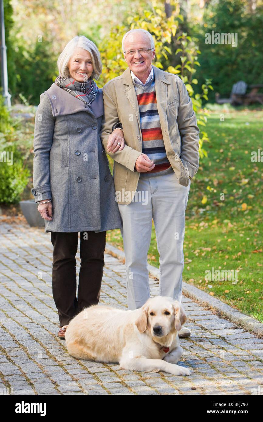 Senior couple taking a walk, Sweden. - Stock Image