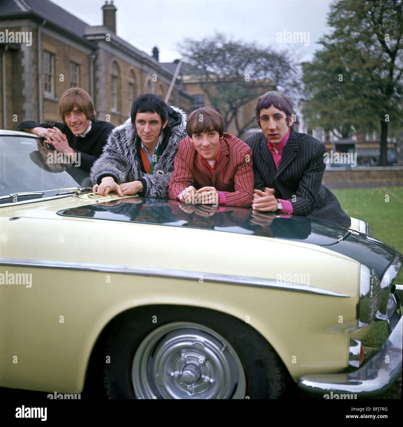THE WHO - UK rock group at Duke of York's HQ, Chelsea, on 12 November 1966, with Roger Daltrey's car - see - Stock Image