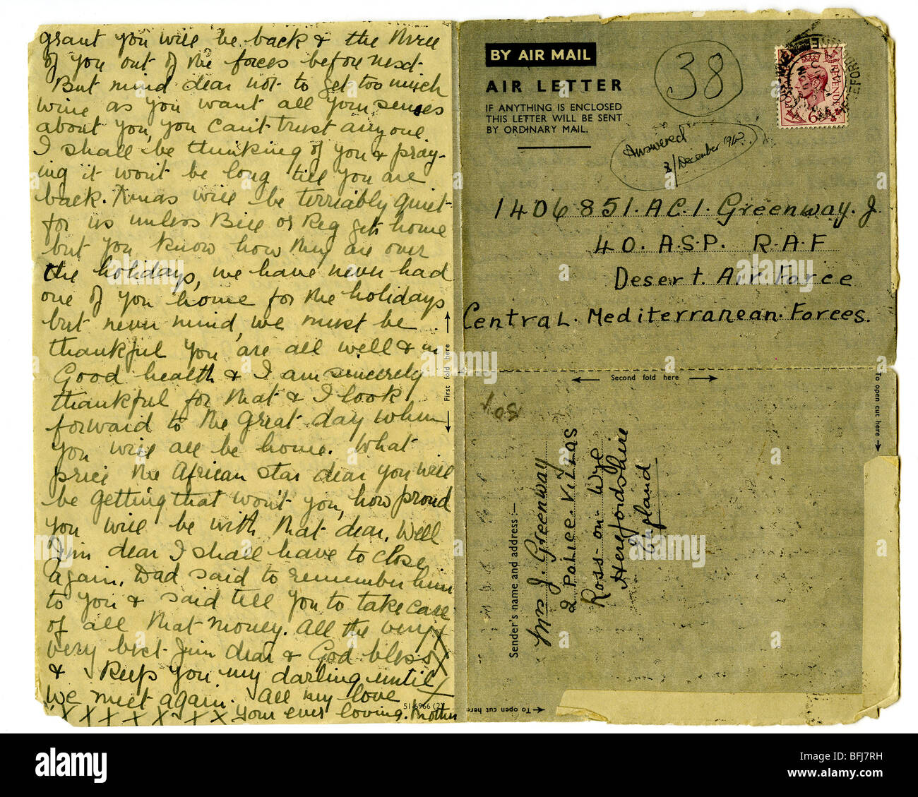 AIR LETTER of the type sent from the UK to servicemen overseas during the second world war - Stock Image