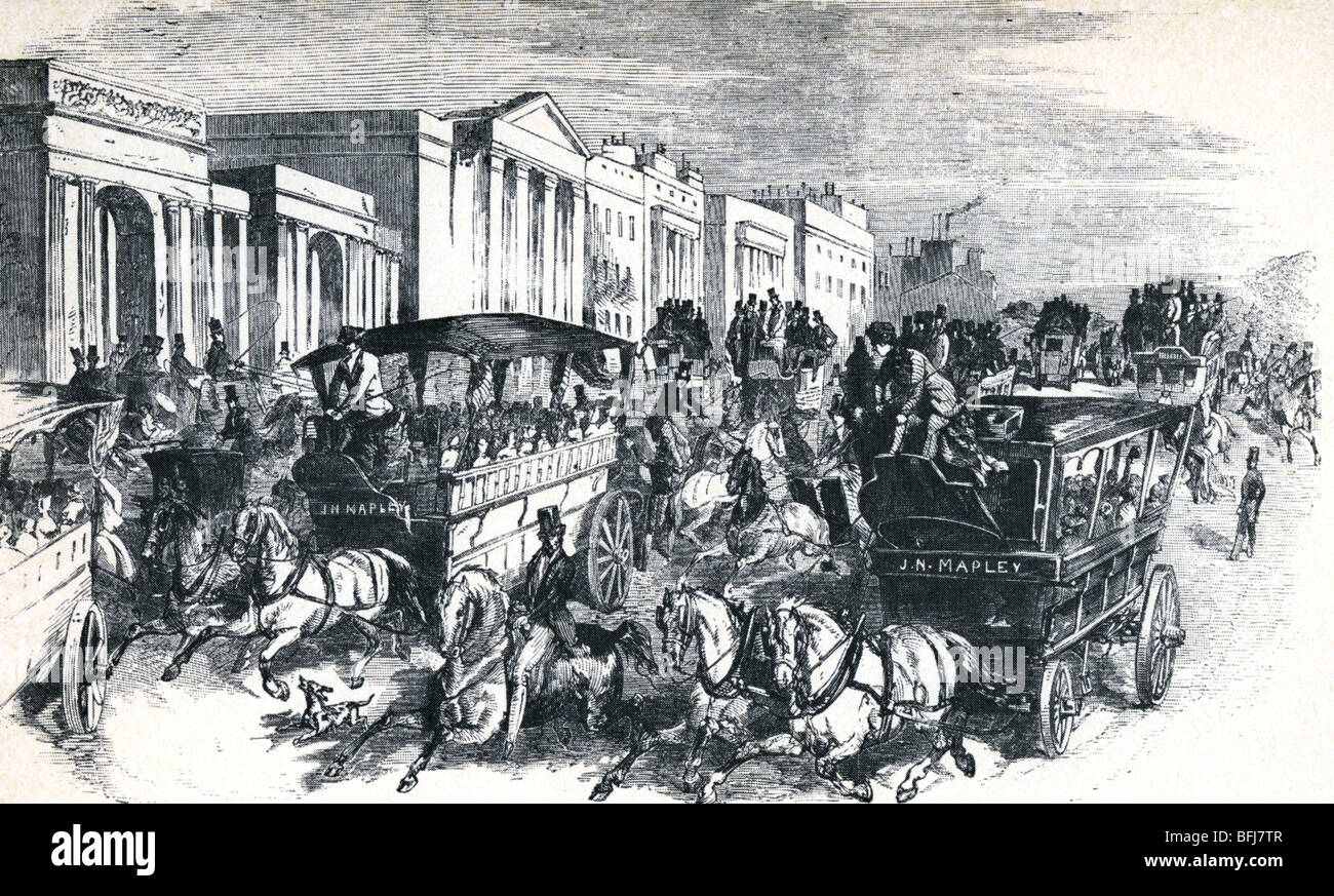 GREAT EXHIBITION 1851 - Traffic jams at Hyde Park Corner on days when the entry price was reduced to One Shilling - Stock Image