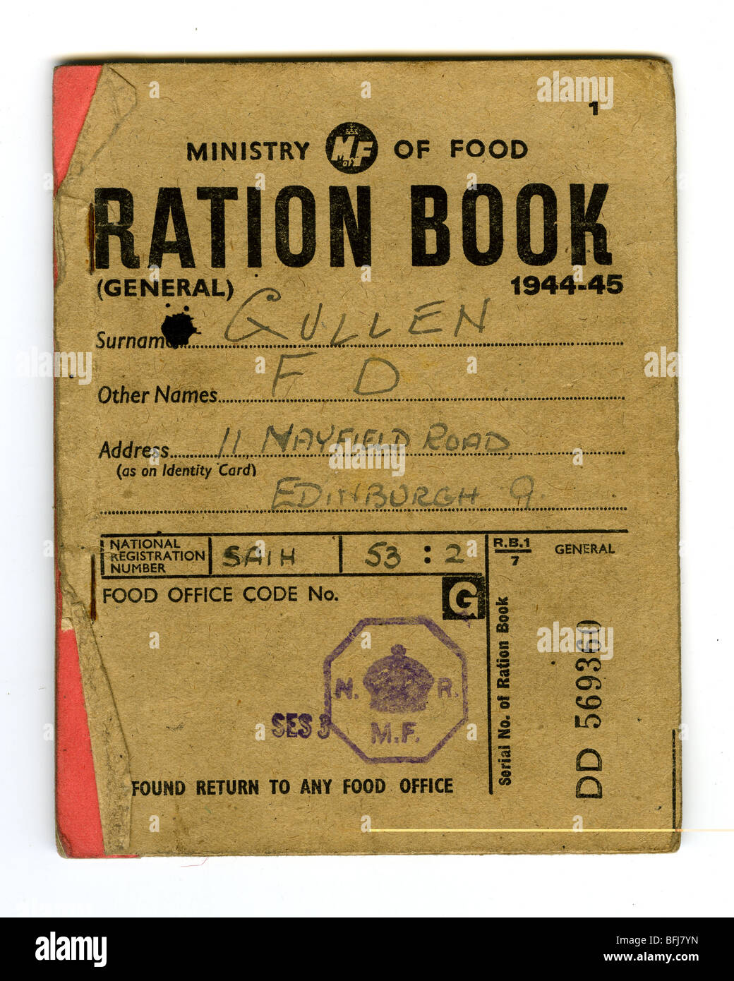 BRITISH RATION BOOK 1944-45 issued by the Ministry of Food - Stock Image