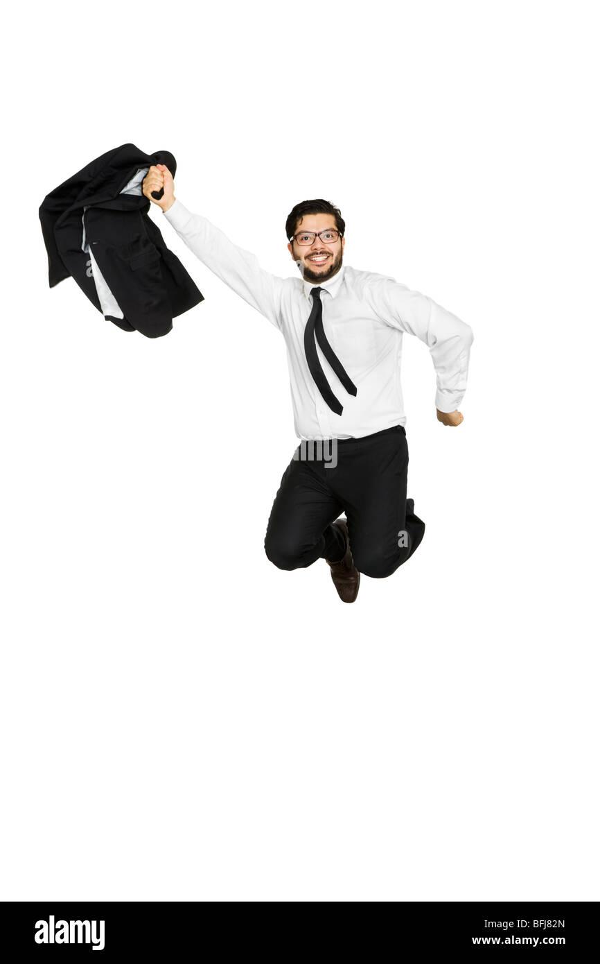 Businessman jumping of joy. - Stock Image