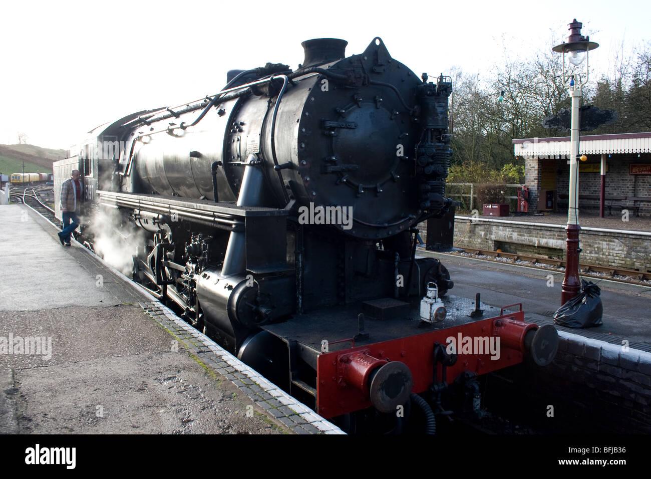 Lima USATC locomotive at Cheddleton railway station - Stock Image