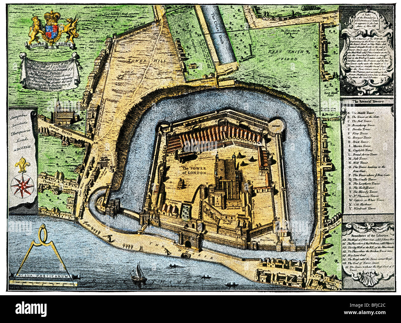 Tower of London in Elizabethan England. Hand-colored halftone of an illustration - Stock Image