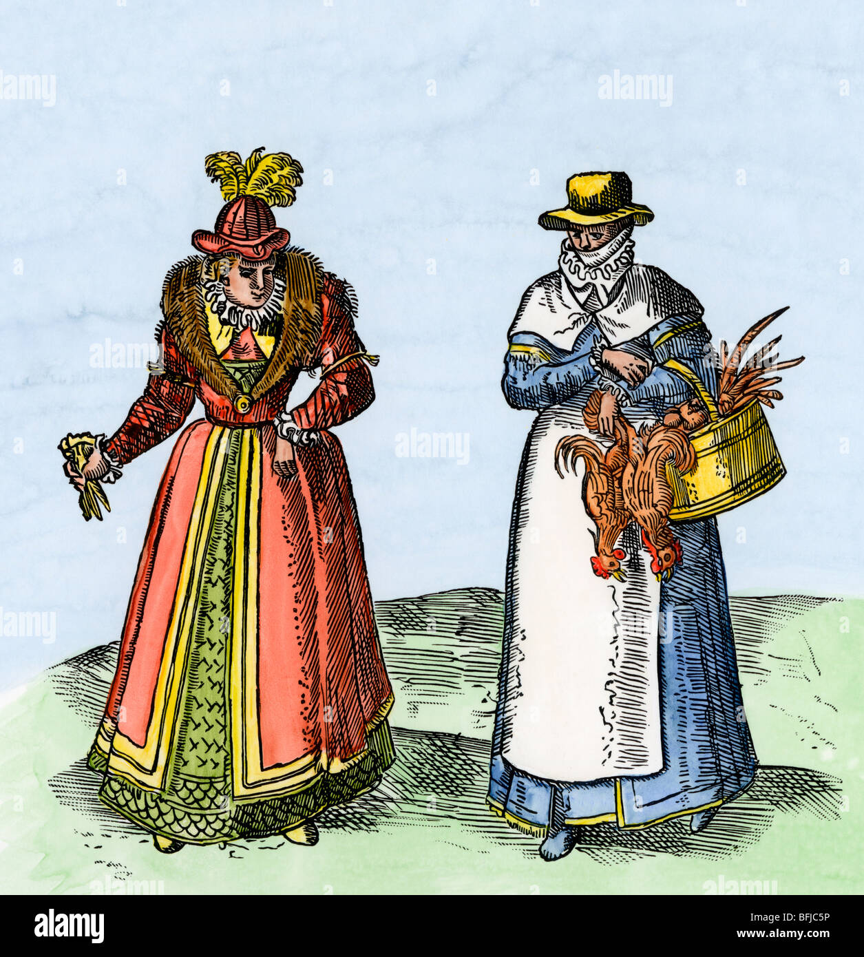 Lady of the court and a country woman during the reign of Elizabeth I, 1572. Hand-colored woodcut - Stock Image