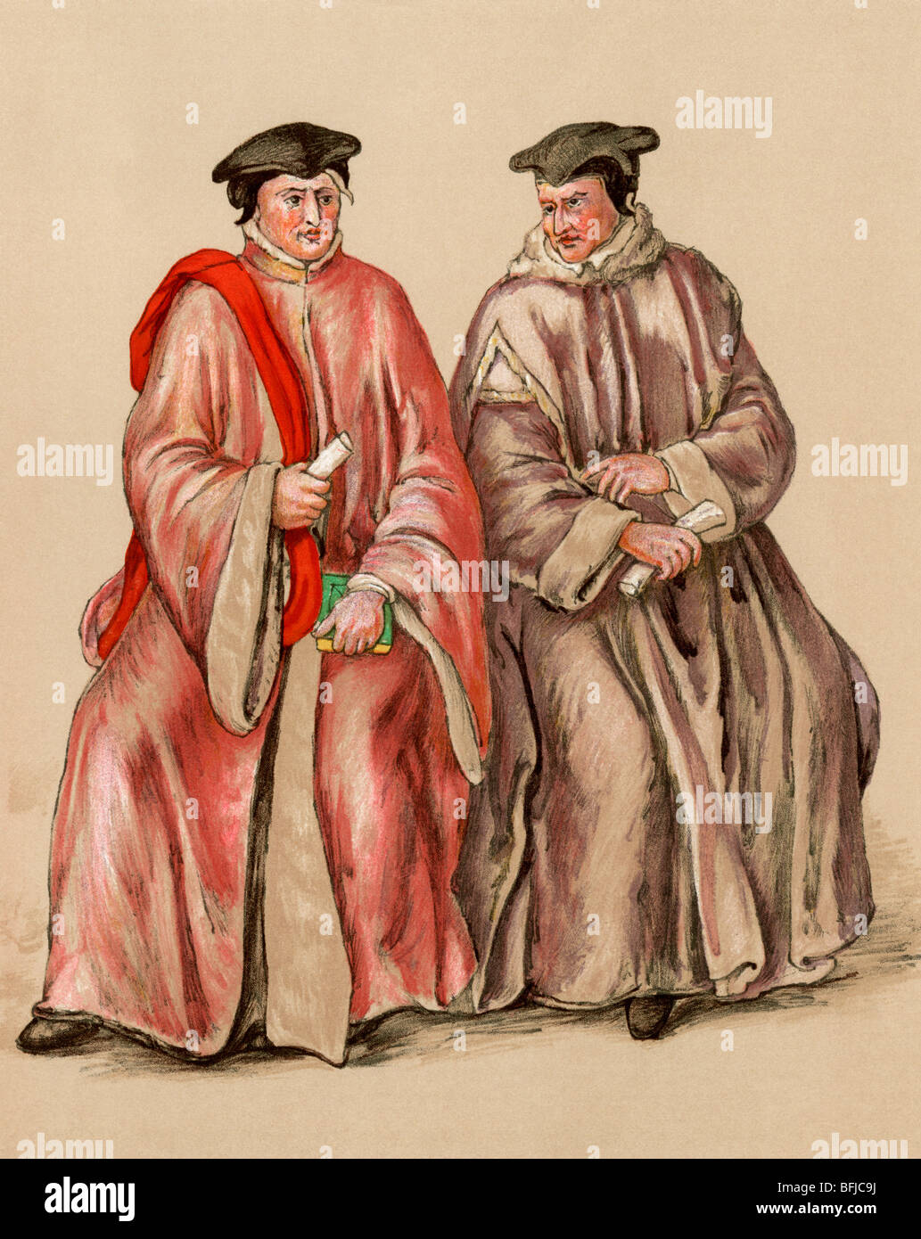 English judges in their robes during Elizabeth's reign, 1500s. Color lithograph - Stock Image