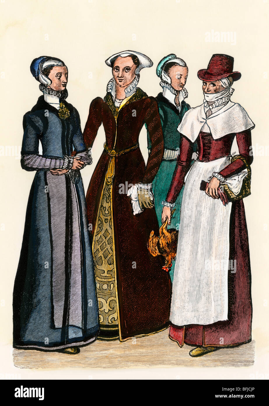 City women and a country-woman in Elizabethan England, 1500s. Hand-colored woodcut - Stock Image