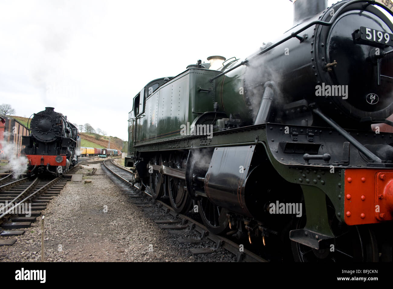Steam locomotives on the Churnet Valley Railway - Stock Image