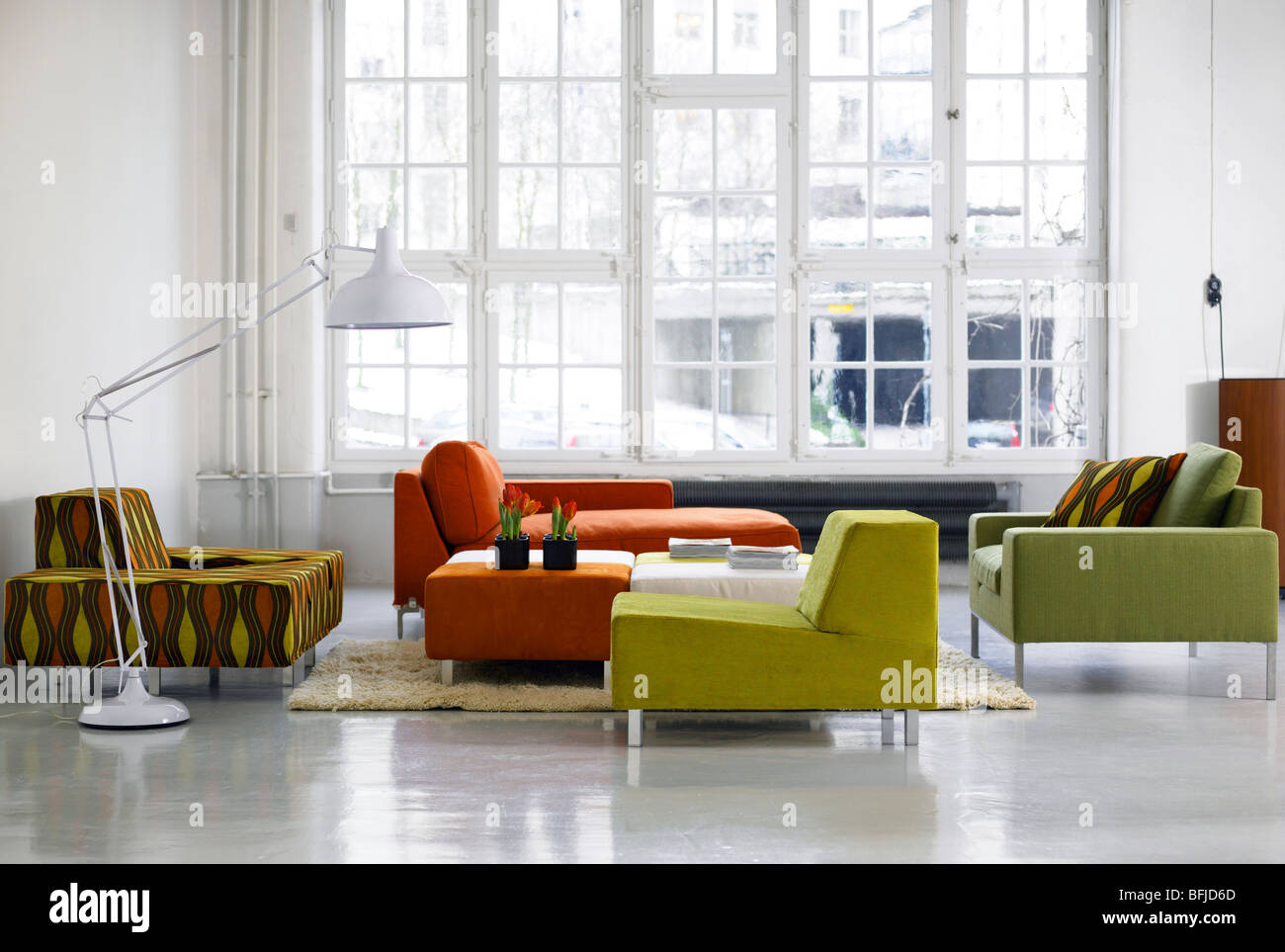 A group of sofa and armchairs, Sweden. - Stock Image