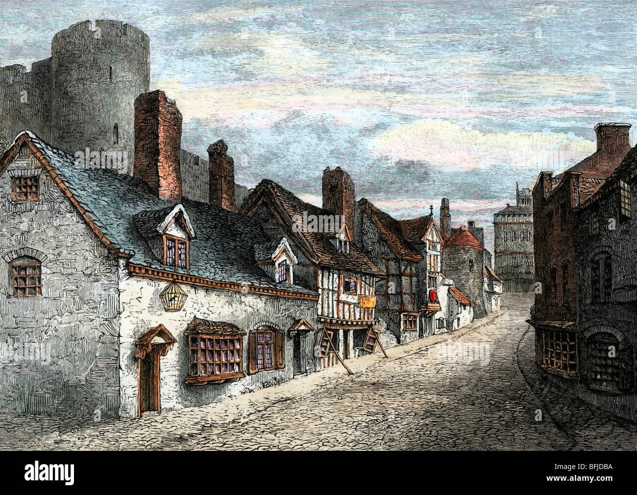 Street of Castle Gate, Shrewsbury, England, in Tudor times. Hand-colored woodcut - Stock Image