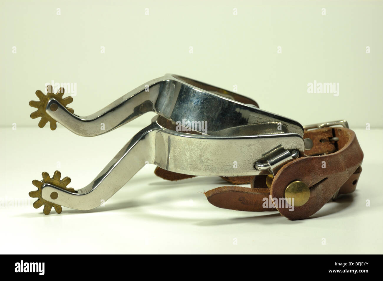 Close up of a set of boot spurs - Stock Image