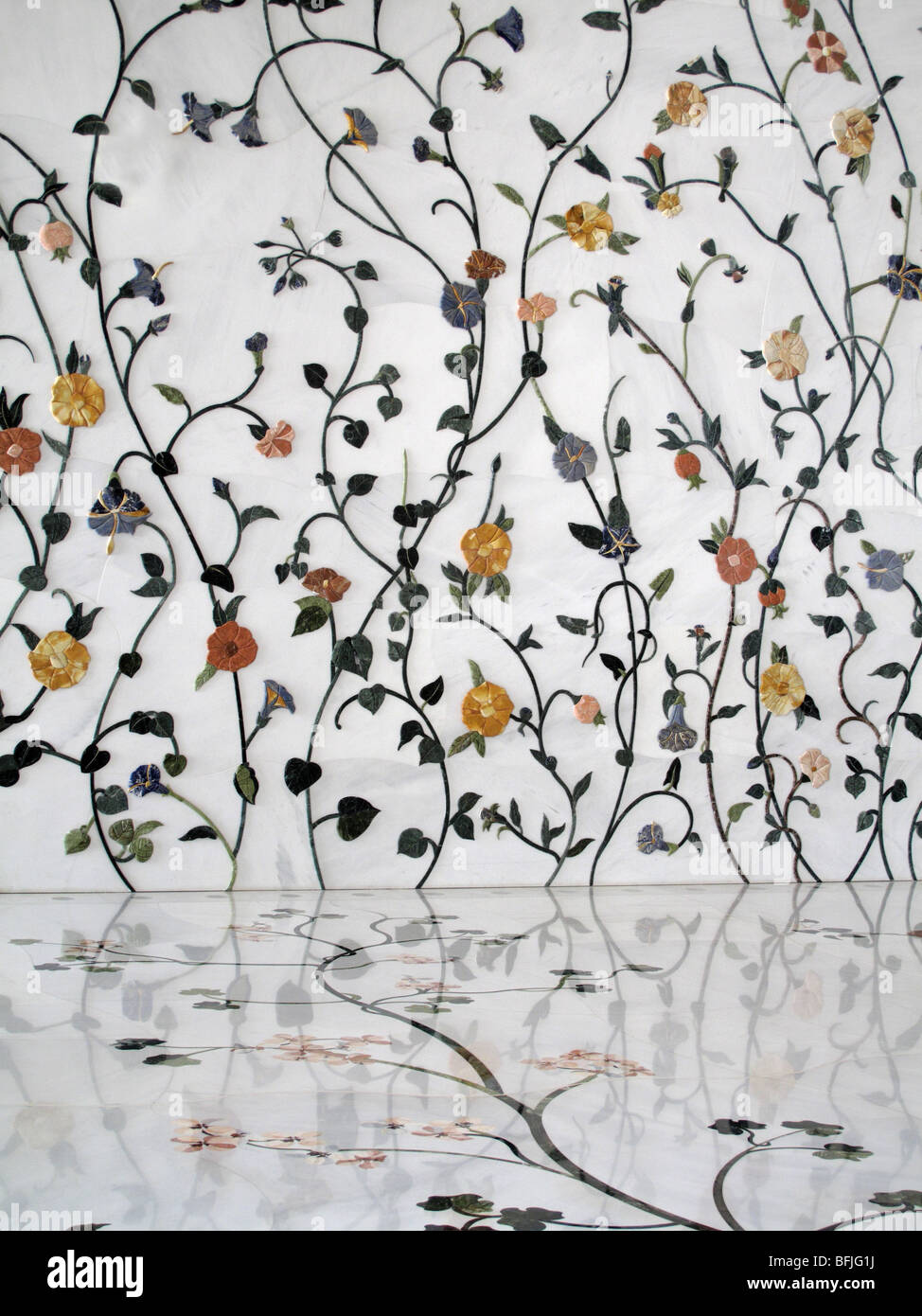 White Marble Floor Walls Inlaid With Flowers Of Coloured Marbles At Stock Photo Alamy