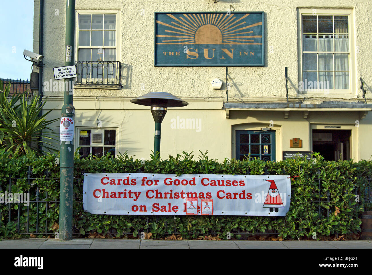charity christmas cards on sale sign at the sun public house, barnes ...