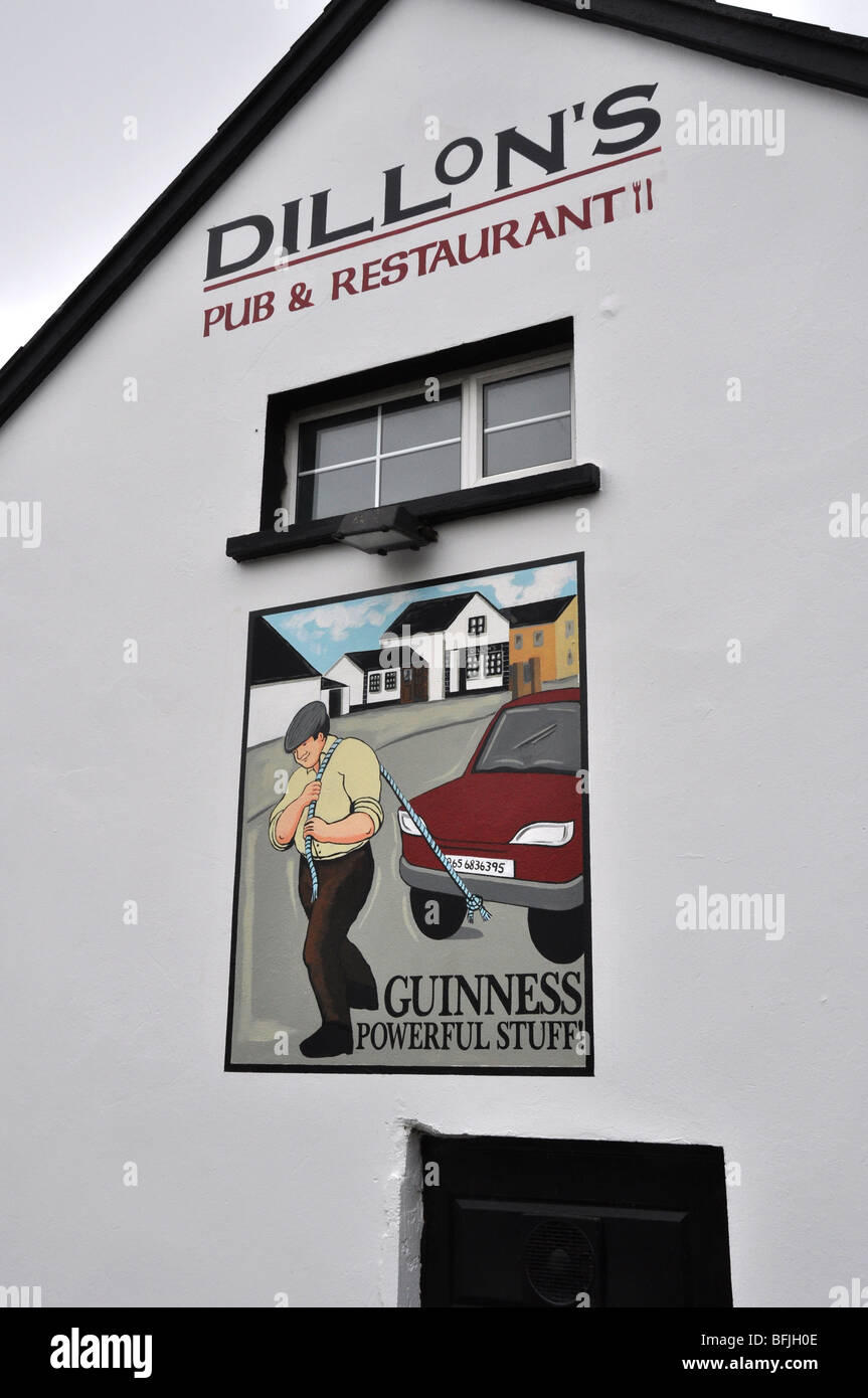 Hand painted sign onDillons country Pub Ireland guinness - Stock Image