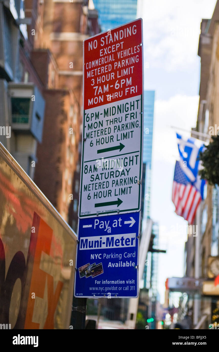 New York City The Big Apple amusing funny street signs no standing Muni Meter parking restrictions street scene - Stock Image