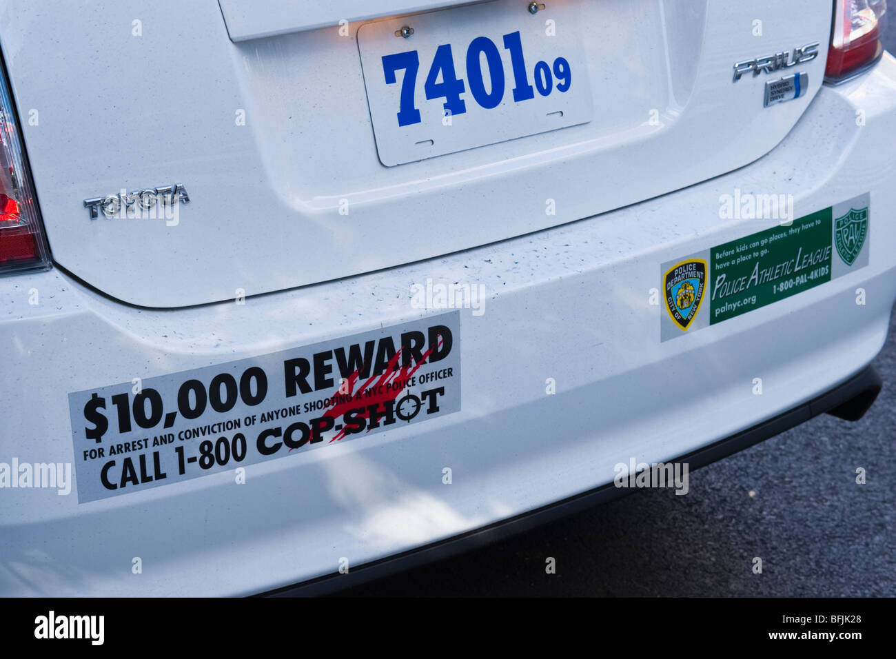 New york city the big apple police car bumper sticker 10000 reward on conviction of cop killer call 1 800 cop shot