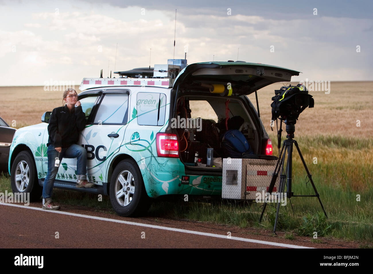 Weather Channel reporter Katy Tur in western Kansas, USA, June 10, 2009. - Stock Image