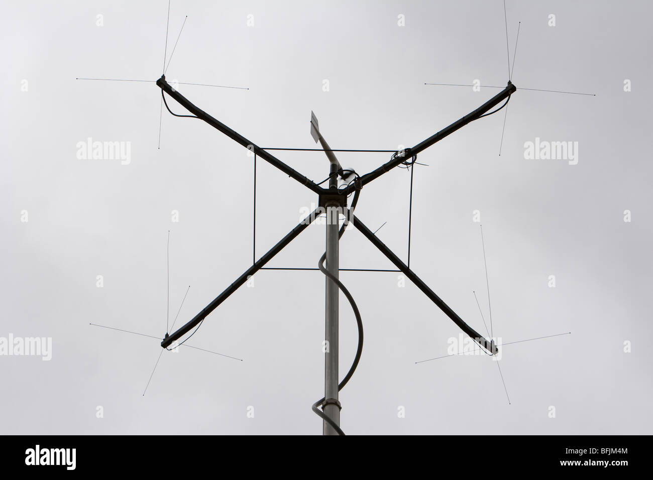 The top of a mobile repeater mast in western Kansas, USA, June 10, 2009. - Stock Image