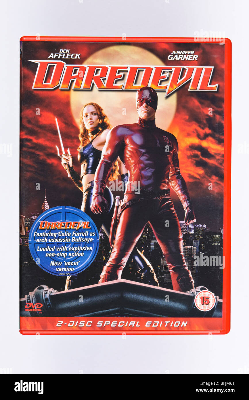 DAREDEVIL MOVIE ON DVD STARRING BEN AFFLECK ABOUT A BLIND SUPERHERO WITH ENHANCED HEARING AND STRENGTH - Stock Image