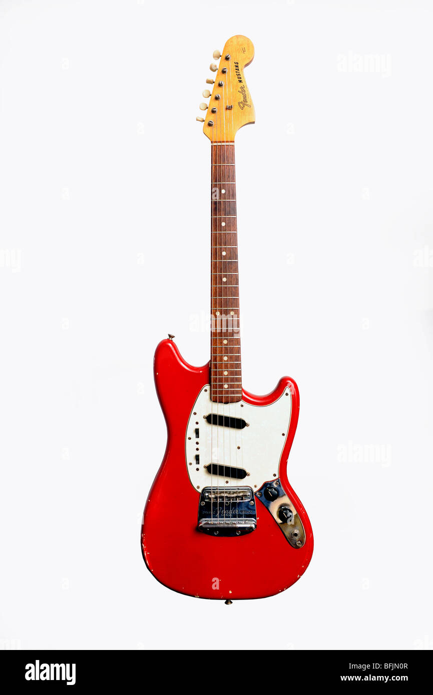 a 1970s fender mustang six string student  electricguitar - Stock Image