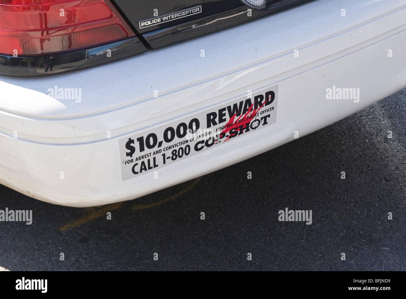 New york city the big apple police car bumper sticker 10000 reward on conviction of cop