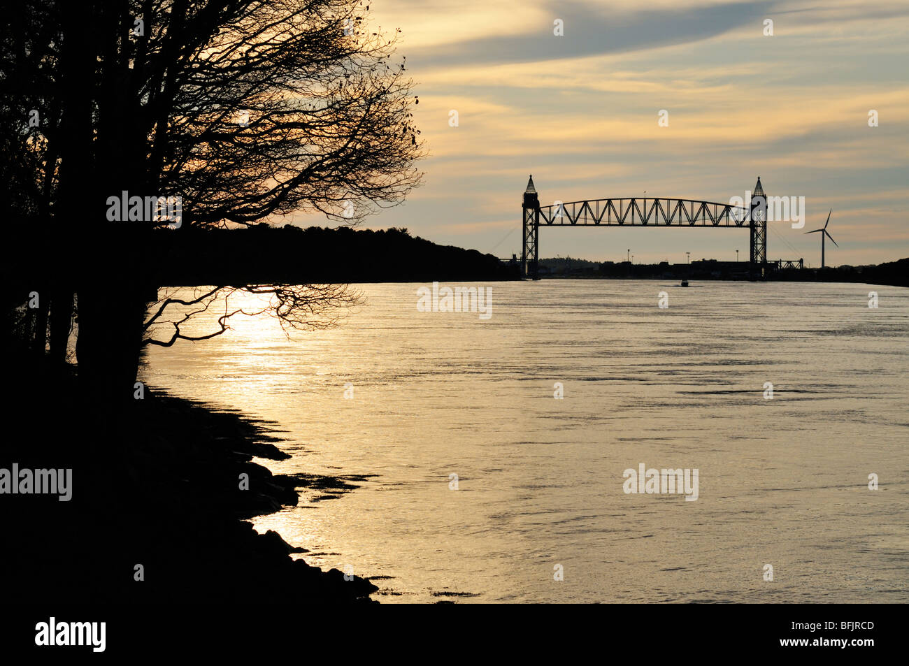 Sunset at the Cape Cod Canal with Railroad bridge in Bourne, Massachusetts USA - Stock Image