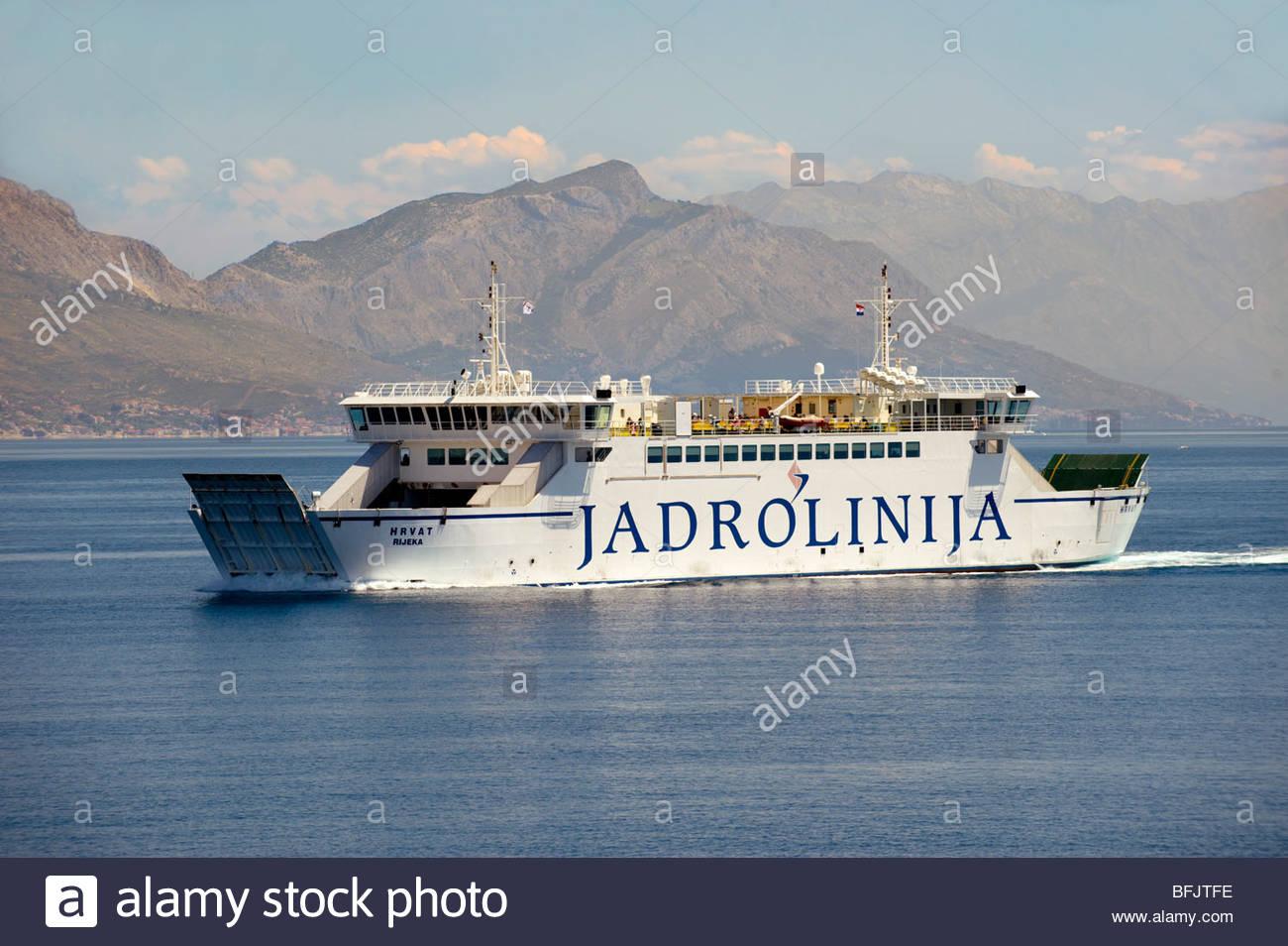 Jardolinja Split to Brac car Ferry, Croatian Islands, Croatia, Dalmatia - Stock Image