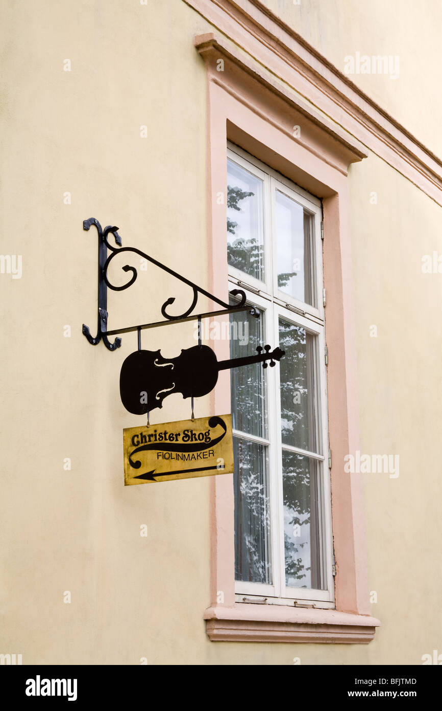 Violin Maker's Sign, Trondheim City, Nord-Trondelag Region, Norway, Scandinavia - Stock Image
