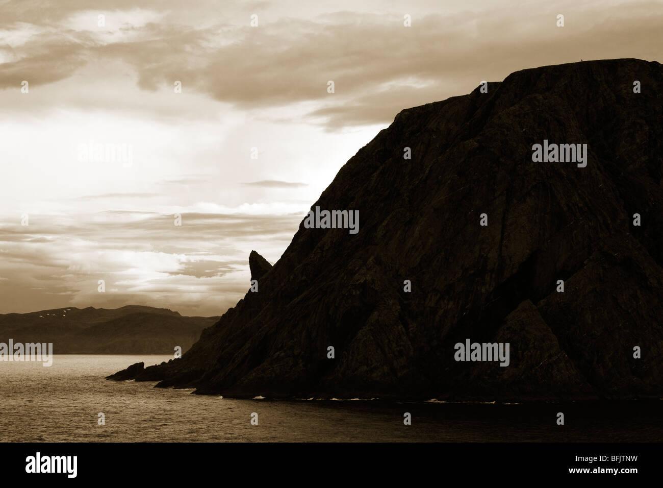 Horn Rock Formation, North Cape, Honningsvag Port, Mageroya Island, Finnmark Region, Arctic Ocean, Norway, Scandinavia - Stock Image
