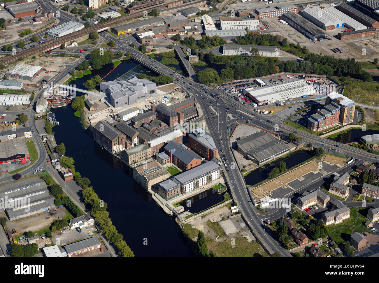 Waterfront development beside the River Calder, Wakefield, West Yorkshire, including the new Barbara Hepworth Gallery - Stock Image
